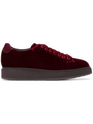 Santoni geperforeerde vetersneakers (rood)