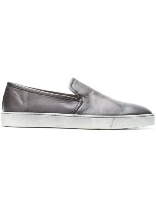 Santoni geripte slip-on sneakers (grijs)