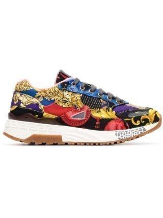 Versace Achilles sneakers met barok print - Blauw