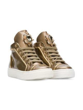 Quis Quis met kristallen versierde high-top sneakers (zilver)