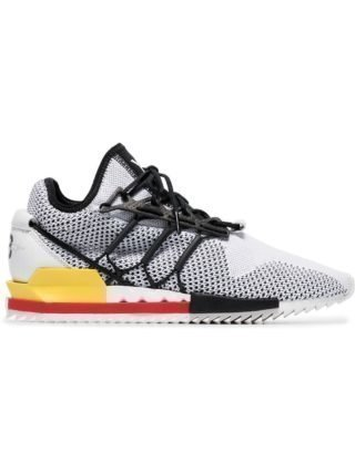 Y-3 white and red Harigane mesh leather sneakers - Wit