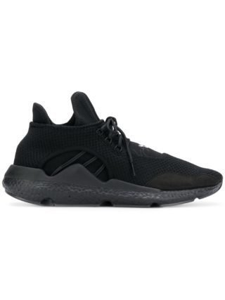 Y-3 black lace-up 'Saikou' leather sneakers - Zwart