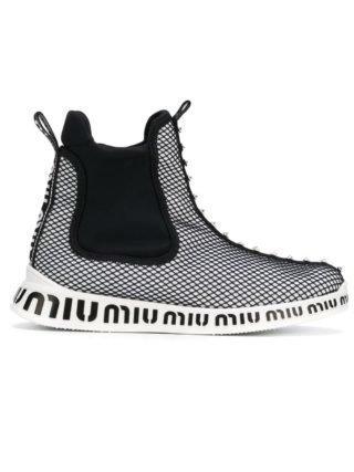 Miu Miu juweel versierde mesh sneakers (zwart)