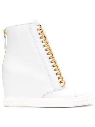 Casadei hi-top sneakers met kettingrand (wit)