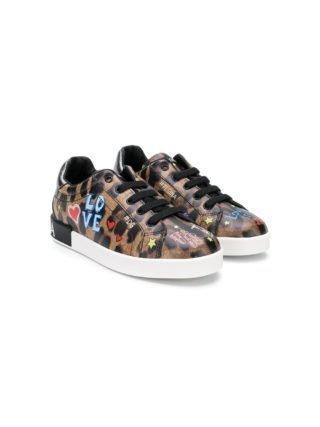 Dolce & Gabbana Kids ivy sneakers met luipaardprint (bruin)