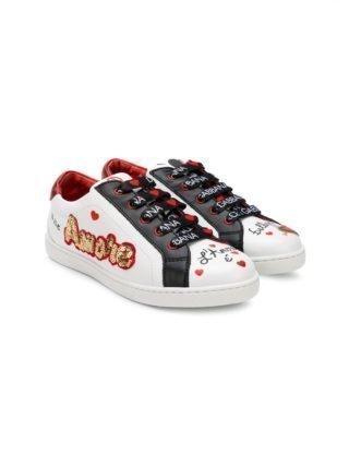 Dolce & Gabbana Kids amore heeft een sneakers met pailletten (wit)