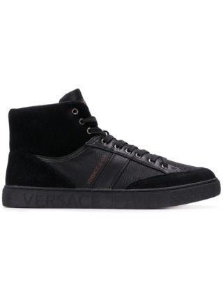 Versace Jeans lace-up hi-top sneakers (zwart)