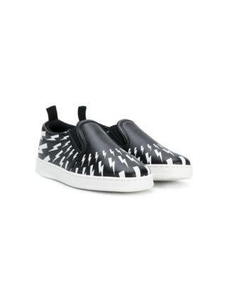Neil Barrett Kids sneakers met bliksemflits (zwart)