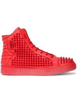 Philipp Plein high-top sneakers met studs (rood)