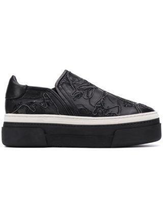 Agl instap sneakers met plateauzool (zwart)