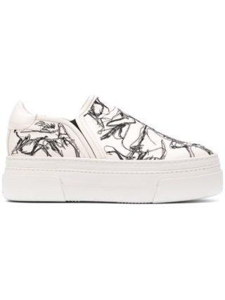 Agl instap sneakers met plateauzool (wit)