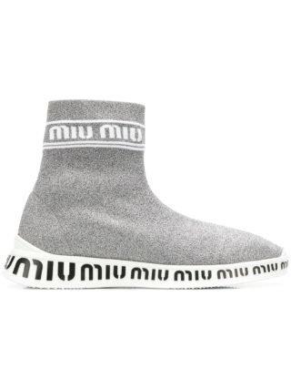 Miu Miu gebreide high-top sneakers (zilver)