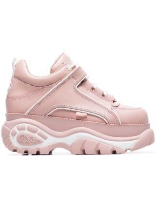 Buffalo klassieke leren sneakers met plateau (roze)