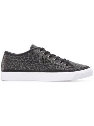 Emporio Armani logo lace-up sneakers (zwart)
