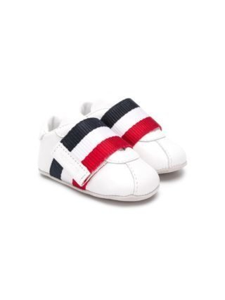 Moncler Kids striped touch strap sneakers (wit)