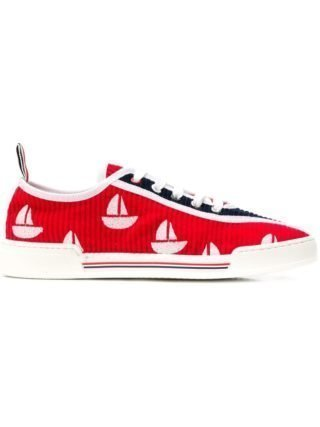Thom Browne Sailboat Embroidery Corduroy Trainer (rood)