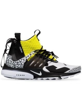 Nike black white and yellow x Acronym Presto leather sneakers - Zwart
