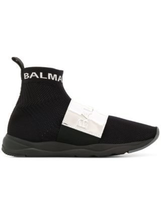 Balmain high top sneakers met plakkaat (zwart)