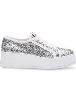 Miu Miu glitter sneakers met plateau zool (zilver/wit)