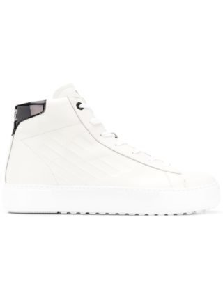 Ea7 Emporio Armani high top sneakers met veters (wit)