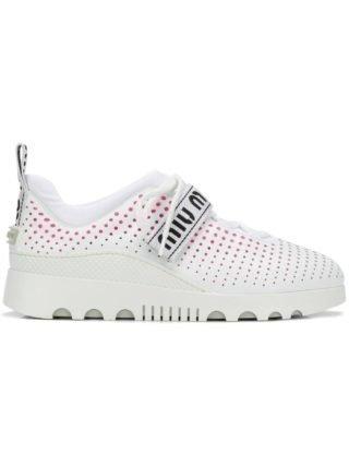 Miu Miu geperforeerde sneakers (wit)