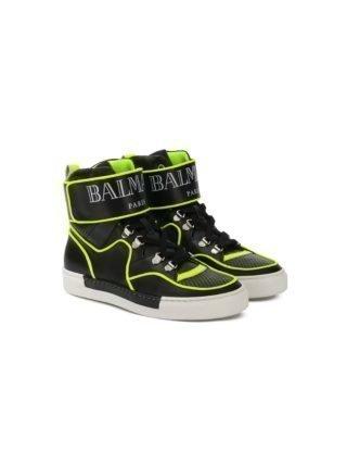 Balmain Kids TEEN high top sneakers met logobandje (zwart)