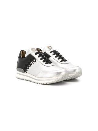 Roberto Cavalli Junior tweekleurige sneakers met veters (zilver)