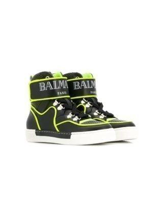 Balmain Kids high-top sneakers met klittenband en logo (zwart)
