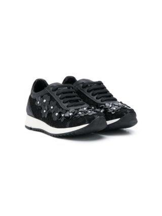 Andrea Montelpare Sneakers met bloemen (zwart)
