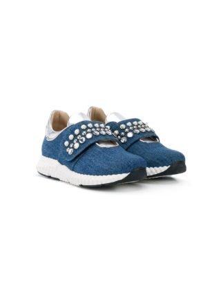 Ermanno Scervino Junior Sneakers met klittenband (blauw)