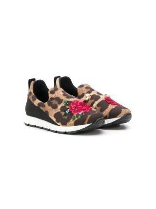Dolce & Gabbana Kids instap sneakers met luipaardprint (bruin)