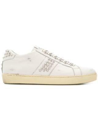 Leather Crown Sneakers met studs - Wit