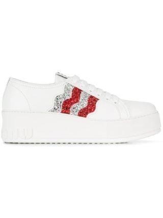 Miu Miu Glitter sneakers met plateauzool (wit)