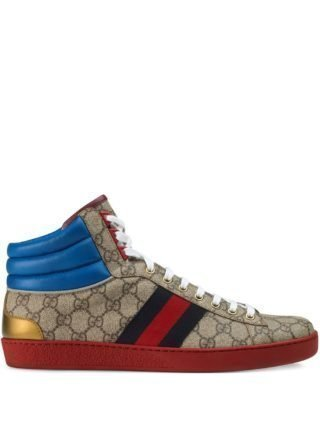 Gucci Ace GG high-top sneakers (bruin)