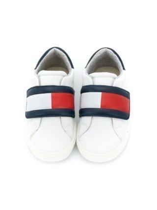 Tommy Hilfiger Junior Sneakers met colourblocking (wit)