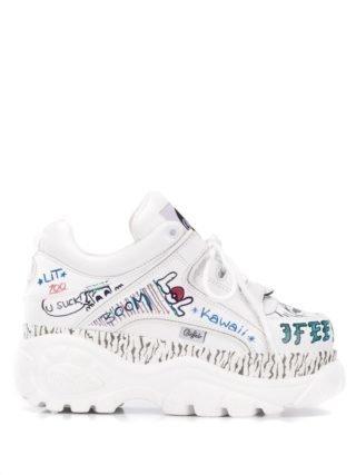 Buffalo Graffiti sneakers (wit)