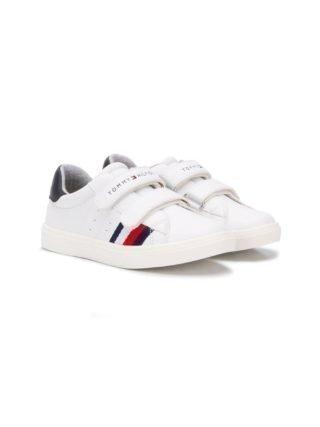 Tommy Hilfiger Junior Sneakers met klittenband (wit)