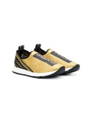 Dolce & Gabbana Kids gold tape sneakers (goud)