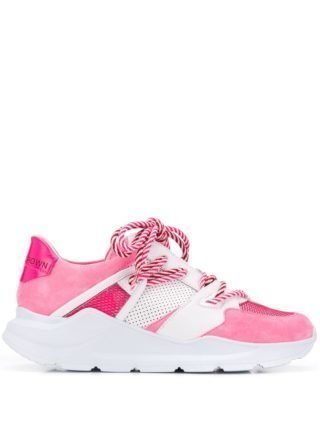 Leather Crown Border Line sneakers (roze)