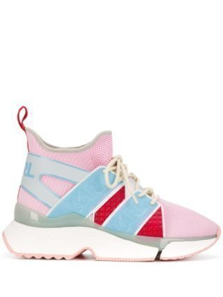 Karl Lagerfeld colour block high top sneakers (roze)