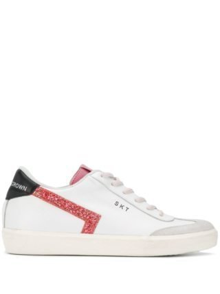 Leather Crown Glitter sneakers (wit)