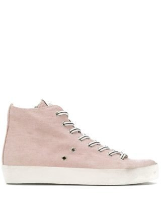 Leather Crown High-top sneakers (roze)