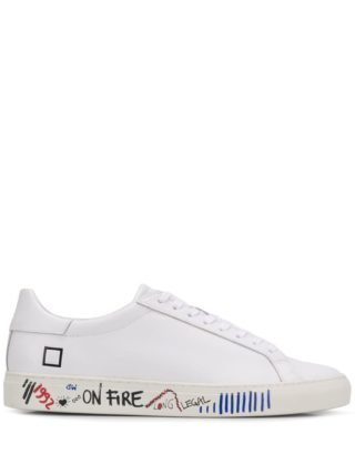 D.A.T.E. Sneakers met graffiti print (wit)
