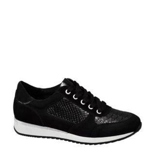 vanHaren Medicus leren sneakers met reptielenprint (zwart)