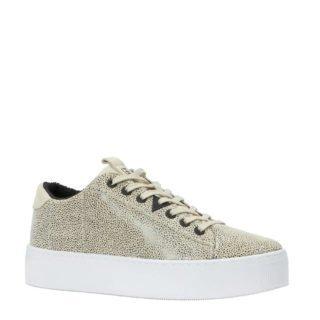 Hub leren plateau sneakers beige (beige)
