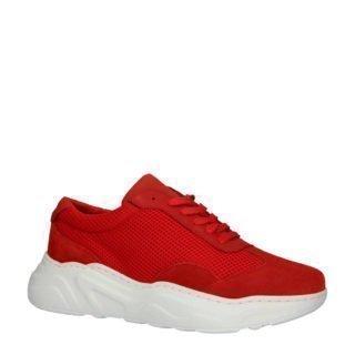 Bianco leren sneakers rood (rood)