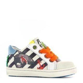 Shoesme leren sneakers met strepen en haai wit (wit)