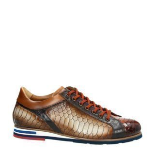 Lorenzi leren sneakers met slangenprint bruin (bruin)