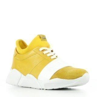 Shabbies Amsterdam leren sneakers zwart/wit (geel)