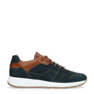 Manfield leren sneakers blauw/bruin (blauw)